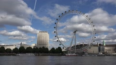 4K London Eye, England Boats, Ships on Thames River, Tourists Traveling Europe Stock Footage