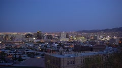 El Paso Downtown Buildings at Dusk Stock Footage