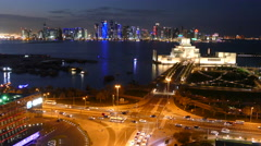 Dhow Harbour at night in Doha Stock Footage