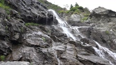 4K River Water Fall Brook in Mountains, Summer Sunny Day in Forest, Wood View Stock Footage