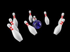 Bowling Ball crashing into the pins. 3D rendering - stock illustration