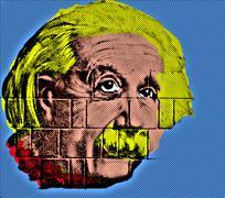 Albert Einstein like Endy Warhol-style Stock Illustration