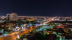 Las Vegas Night Time Lapse of Air Traffic above Flamingo Road East of the Str Stock Footage