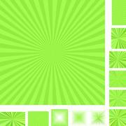 Retro light green ray burst background set - stock illustration