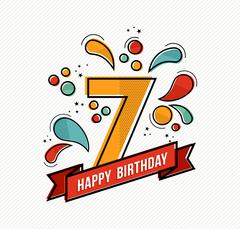 Colorful happy birthday number 7 flat line design - stock illustration