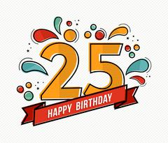 Colorful happy birthday number 25 flat line design - stock illustration