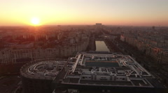 Aerial view over Bucharest City center skyline - stock footage