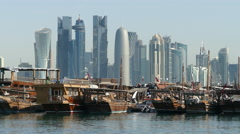 Close up from Traditional Dhow, Arab sailing vessels in Dhow Harbour Stock Footage