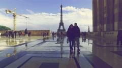 Eiffel Tower (seen from Trocadero) Stock Footage