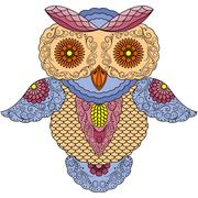 Big colourful abstract owl - stock illustration