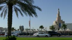 FANAR Qatar Islamic Cultural Center with traffic Stock Footage