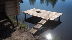 A quiet place for fishing on the lake Stock Footage
