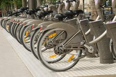 Velib bicycles in paris - stock photo