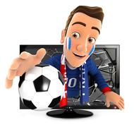 3d french soccer fan coming out of television - stock illustration