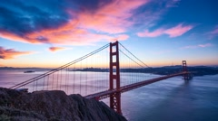 Epic Golden Gate sunrise in San Francisco 4K Stock Footage