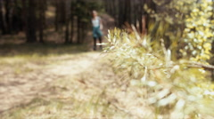 Active healthy hipster teen hiking in forest. 60 FPS slow motion Stock Footage