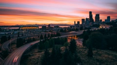 Dramatic Seattle Skyline in motion at sunset 4K Timelapse - stock footage