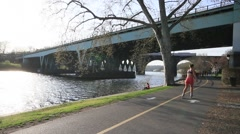 River Bike and Jogging Trail Philadelphia Stock Footage