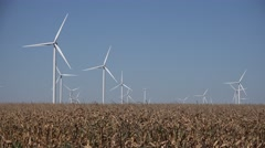 4K Windmills, Wind Turbine, Agriculture Wheat Field Generator Power, Electricity Stock Footage