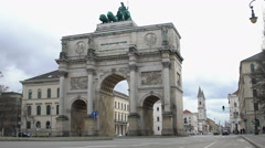 Siegestor, Victory Gate triumphal arch in Munich, famous architectural landmark Stock Footage