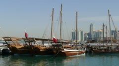 Close up from traditional Dhow, Arab sailing vessels Stock Footage