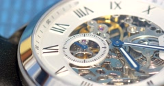 Automatic Men Watch With Visible Mechanism Stock Footage