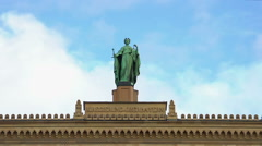 Historical statue atop district government of Upper Bavaria in Munich, Germany Stock Footage