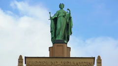 Beautiful statue of Lady Justice atop municipal building in Munich, Germany Stock Footage