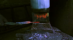 Blacksmith Forging a Knife Stock Footage
