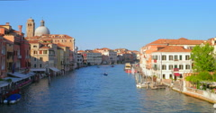 Venice, Italy canal navigation. Venezia architecture. Venice city in summer Stock Footage