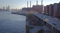 Aerial NYC Coney Island buildings and bridge Arkistovideo