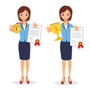 Business woman winner set. Cheerful lady holding prize and certi - stock illustration