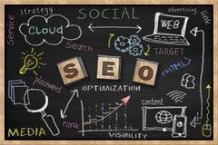 SEO related concepts wrote on a blackboard. - stock photo