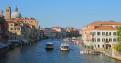 Venice canal ships. boats. gondolas navigation. Venice city, Italy Stock Footage