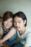 Young japanese couple - stock photo