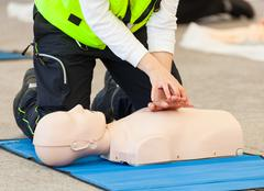 CPR training with dummy Stock Photos