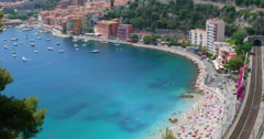 Villefranche-sur-Mer aerial view, south France aerial view, luxury resort Nice Stock Footage