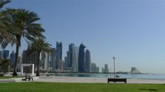 Corniche Promenade and the Doha skyline Stock Footage