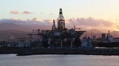 Las Palmas de Gran Canaria harbor with petrol station. Canary islands, Spain Stock Footage