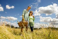 Couple with picnic basket in field Stock Photos