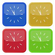 set of four square icons with last minute clock - stock illustration