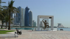 Corniche Promenade with the handball worldcup 2015 Statue Stock Footage