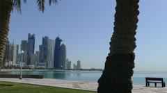 Corniche Promenade in Doha - stock footage
