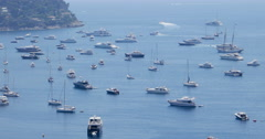 Luxury yachts yachting. France coast yachting yachts. Villefranche-sur-Mer Stock Footage