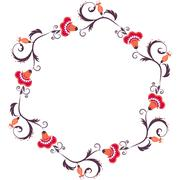 Floral wreath. Flower border frame - stock illustration