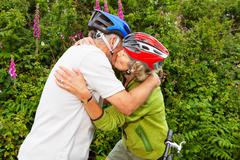 Senior couple kissing Stock Photos