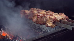 Meat is Fried on Fire Stock Footage