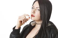 drug addicted woman - stock photo