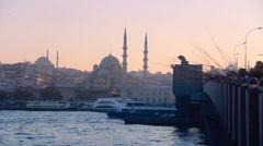 istanbul city sea fishing galata bridge - stock footage