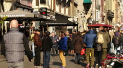 Zoom Out - Crowded Busy Street  - Amsterdam Netherlands Stock Footage
